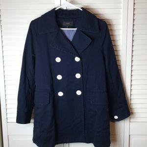 J Crew Navy Cotton Double Breast Walking Coat